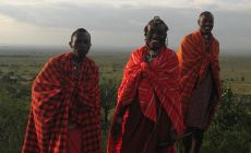 Výhled na Loita plains (2. největší planinu v Africe) z masajského kempu